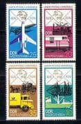 Germany (DDR) 1974 UPU/ Postal Transport/ Trains/ Railways/ Aviations/ Planes/ Boats/ Ships/ Motoring/ Lorries/ Trucks 4v set (n27382)