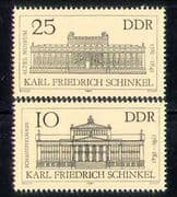 Germany (DDR) 1981 Schinkel  /  Theatre  /  Museum  /  Buildings  /  Architecture 2v set n28092