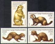 Germany (DDR) 1982 Marmot/ Mink/ Marten/ Polecat/ Fur/ Animals/ Nature/ Clothes 4v set (n37247)