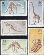 Germany (DDR) 1990  Dinosaurs/ Fossils/ Reptiles/ Animals/ Nature  5v set  (b9243)