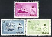 Ghana 1957  Black Star Shipping Line/ Ships/ Boats/ Transport/ Sailing/ Vikings  3v set (n32201)