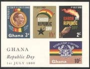 Ghana 1960 Republic Day  /  Nkrumah  /  Torch  /  Flame  /  Freedom  /  National Flag m  /  s (n39588a)