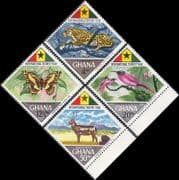 Ghana 1967  Leopard/ Butterfly/ Bee-eater/ Deer/ Animals/ Birds/ Insects/ Nature  4v set  (n46419)