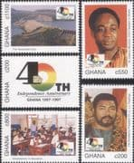 Ghana 1997  Independence 40th Anniversary/ Presidents/ Dam/ Electricity/ School  5v set  (s1668f)