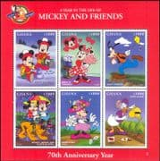 Ghana 1998 Disney/ Mickey/ Minnie/ Goofy/ Cartoons/ Animation/ Birthday Logo/ Hearts 6v sht (b437s)