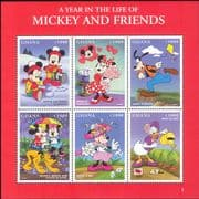 Ghana 1998 Disney/ Mickey/ Minnie/ Goofy/ Cartoons/ Animation/ Hearts 6v sht (b437q)