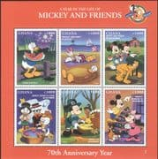 Ghana 1998  Disney/ Mickey's 70th Birthday/ Minnie/ Donald/ Cartoons/ Animation  6v sht (b434a)