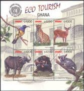 Ghana 2002 Chimpanzee/ Leopard /Sunbird/ Buffalo/ Animals/ Birds/ Nature/ Wildlife/ Eco-Tourism/ Conservation 6v m/s n41323