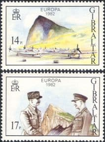 Gibraltar 1982  Europa/ Military Planes /Aircraft/ War/ WWII/ People  2v set (n46393)