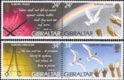 Gibraltar 1995  Europa/ Peace/ Freedom/ Dove/ Rainbow/ Hands/ Birds  4v set  2 x prs (ex1089)