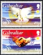 Gibraltar 1995 United Nations/ UN 50th Anniversary/ Dove/ Hands/ Peace/ Handshake/ Birds/ Nature 2v set (n44592)