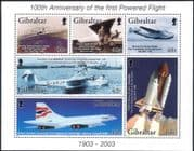 Gibraltar 2003 Powered Flight/ Concorde/ Space Shuttle/ Aviation/ Planes/ Aircraft 6v m/s (s6377)