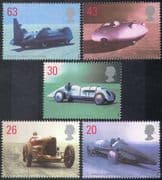 Great Britain (GB) 1998 Speed Records/ Motor Racing/ Cars/ Sports/ Transport 5v set (n17975)