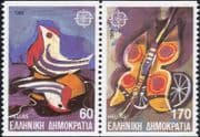 Greece 1989 Europa/ Children's Games/ Toys/ Birds/ Butterfly/ Bicycle/ Cycling  2v pr bklt (ex1064)
