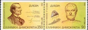 Greece 1994  Europa/ Mathematician/ Mathematics/ Philosopher/ Philosophy 2v set pr ex coil  (ex1086)
