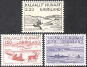 Greenland 1980 Art/ Reindeer/ Walrus/ Sledge/ Hunting/ Canoe/ Transport 3v set (n32177)