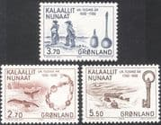 Greenland 1984 Whales/ Ship/ Spoons/ Key/ Buildings/ Trading Goods/ History/ Heritage 3v set (n20237a)