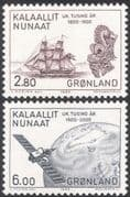 Greenland 1985 Sailing Ships/ Boats/ Satellite/ Transport/ Communications/ Space 2v set (n31818)