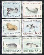 Greenland 1991 Seals/ Marine Animals/ Nature/ Wildlife/ Conservation 6v set (n31672)