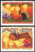 Greenland 1999 Christmas/ Greetings/ Candles/ Flame/ Hands/ Writing/ Animation 2v set (n44707)
