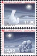 Greenland 2015 Christmas/ Polar Bears/ Greetings/ Aurora/ Nature 2v set (n46239)