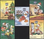 Grenada 1984 Christmas/ Disney/ Donald Duck/ Cartoons/ Animation 5v set (b413h)