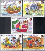 Grenada 1985 Disney/ Goofy/ Clarabelle/ Brothers Grimm/ Tales/ Cartoons/ Animation 5v set n42813