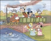 Grenada 1990 Disney/ Mickey/ Donald/Trains/ Railway/ Cartoons/ Animation/ StampEx 1v  m/s (b1605za)