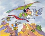 Grenada 1992 Disney/ Mickey/ Minnie/ Sports/ Gliding/ Planes/ Glider/ Cartoons 1v m/s (b4165y)