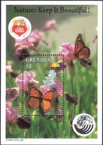 Grenada 1992 Ecology Care Bears/ Butterfly/ Insects/ Plants/ Nature/ Conservation   1v m/s  (s3781g)