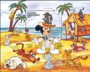 Grenadines of Grenada 1985 Mark Twain/ Disney/ Cartoons/ Mickey/ Cats/ Books/ Writer 1v m/s (b4165v)