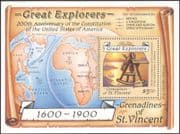 Grenadines of St. Vincent 1988 Ships/ Explorers/ People/ Maps/ Sextant/ Transport/ Bering/ Livingstone/ People 1v m/s (b3734)