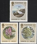 Guernsey 1986 Europa/ Orchid/ Gull/ Elm/ Helicopter/ Flowers/ Trees/ Nature Protection  3v (n26170c)