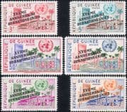 Guinea 1960  UN 15th Overprint/ United Nations/ Building/ Palm Trees  6v set opt (n33927a)
