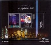 Guinea 2016  Attack on World Trade Centre Memorial/ Towers/ Eagle/ Lights/ StampEx  3v m/s (n41554)