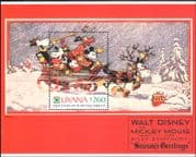 Guyana 1991 Christmas/ Disney/ Greetings/ Mickey/ Sleigh/ Cartoons/  Animation 1v m/s (b409a)