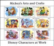 Guyana 1995 Disney/ Mickey/ Workers/ Arts/ Crafts/ Painting/ Watch/ Cartoons  9v sht (b798w)