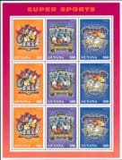 Guyana 1996 Disney/ Donald Duck/ Goofy/ BMX/ Bikes/ Cycling/ Hockey/ Surfing/ Sports 9v sht (b6070j)