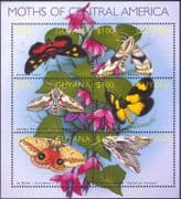 Guyana 2002 Moths/ Insects/ Nature/ Conservation/ Moth 6v m/s (s2378)