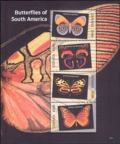 Guyana 2007  Butterflies/ Insects/ Nature/ Butterfly/ Conservation  4v m/s  (s3781q)
