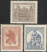 Hungary 1920 Prisoners/ War/ Welfare Fund/ Military/ Army/ Soldiers/ WWI  3v set (n44863)