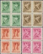 Hungary 1939  Girl Guides/ Dove/ Lily/ Birds/ Flowers/  PRINT PLATE ERROR 4v set blks (hx1097)