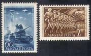 Hungary 1951 Military  /  Army  /  Tanks  /  Soldiers  /  Planes  /  Transport 2v set (n39930)
