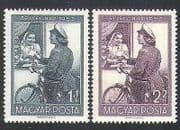 Hungary 1953 Stamp Day  /  Bicycle  /  Bikes  /  Postwoman  /  Letter  /  Transport 2v set (n35780)