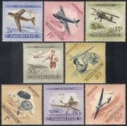 Hungary 1954 Aviation  /  Aircraft  /  Planes  /  Parachutes  /  Gliders  /  Transport 8v set n39863