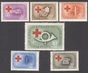 Hungary 1957 Red Cross  /  Medical  /  Health  /  Coach  /  Bus  /  Telephone  /  Radio 6v set (n34945)