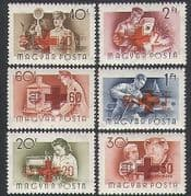 Hungary 1957 Red Cross  /  Workers  /  Steam Engine  /  Rail  /  Radio  /  Boat  /  Health 6v set n34742