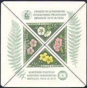 Hungary 1958 Flowers  /  Plants  /  Nature  /  StampEx  /  Triangular  /  Triangle 4v m  /  s (n37310)