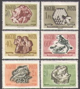 Hungary 1958 Money/ Savings Campaign/ Bee/ Pigeon/ Ant/ Children/ Insects/ Bees/ Birds/ Nature 6v set (n34952)