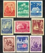 Hungary 1959 Tourism  /  Boats  /  Sports  /  Angling  /  Wine  /  Buildings  /  Transport 9v set n40370